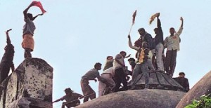 The destruction of the Babri Mosque by Hindu militants