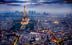 Photo of Paris, with Eiffel Tower front and center