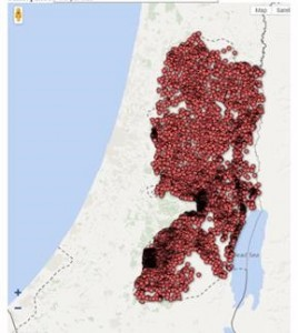 Figure 2: A map of where in the West Bank is being excavated and each red dot is an excavation site in the West Bank whose artifacts haven't been published