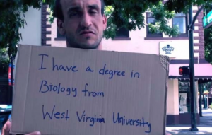 Just one of many young college graduates who are homeless