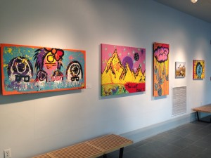 The colorful and cartoon-like artwork Inocente created for the art show.