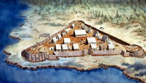 Rendering of Jamestown, as it may have appeared upon colonization.