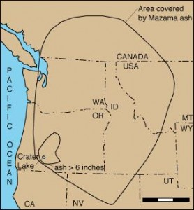 Extent of Mount Mazama Ash Cloud Sedimentation