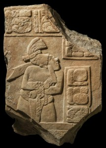 One of many recovered looted artifacts, a limestone panel