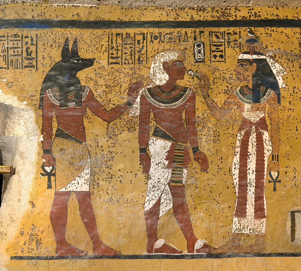 tutankhamens tomb and burial practices of pharaohs in the new kingdom egypt Egypt, thebes, luxor, valley of the kings, tomb of tutankhamen, burial chamber, detail of mural paintings in the presence of anubis, pharaoh receives symbol of eternal life 'ankh' from sky goddess hathor.