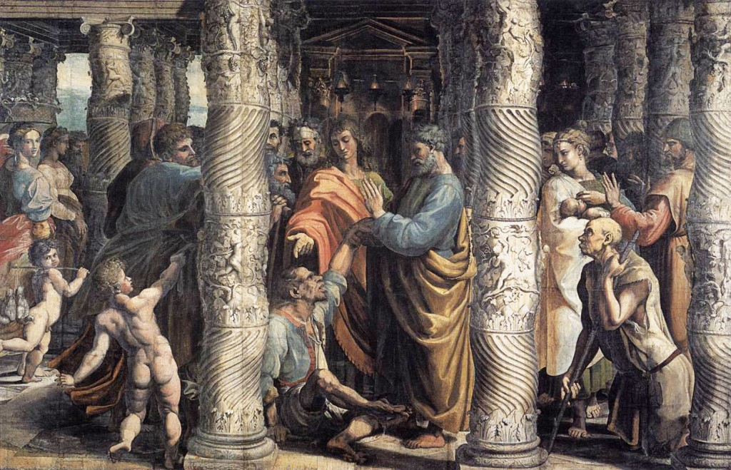 Raphael, Healing at the Lame Man, tapestry carttoon