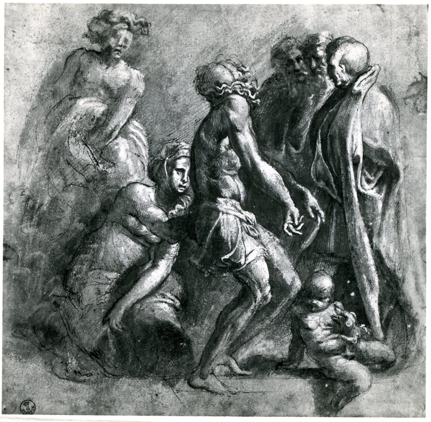 D.28 Study, lower half of Christ in Glory, Uffizi
