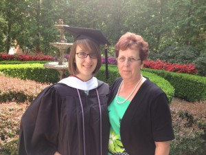 Diane and her mother at her Masters graduation.