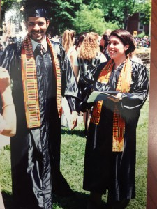 Luis and his wife at their college graduation.