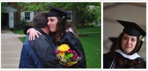 Kelly and her father at her college graduation.