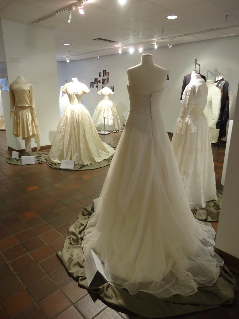 "wedding outfits from the gallery exhibition ""For Better and For Worse: Sixteen Decades of Wedding Wear at Vassar"""